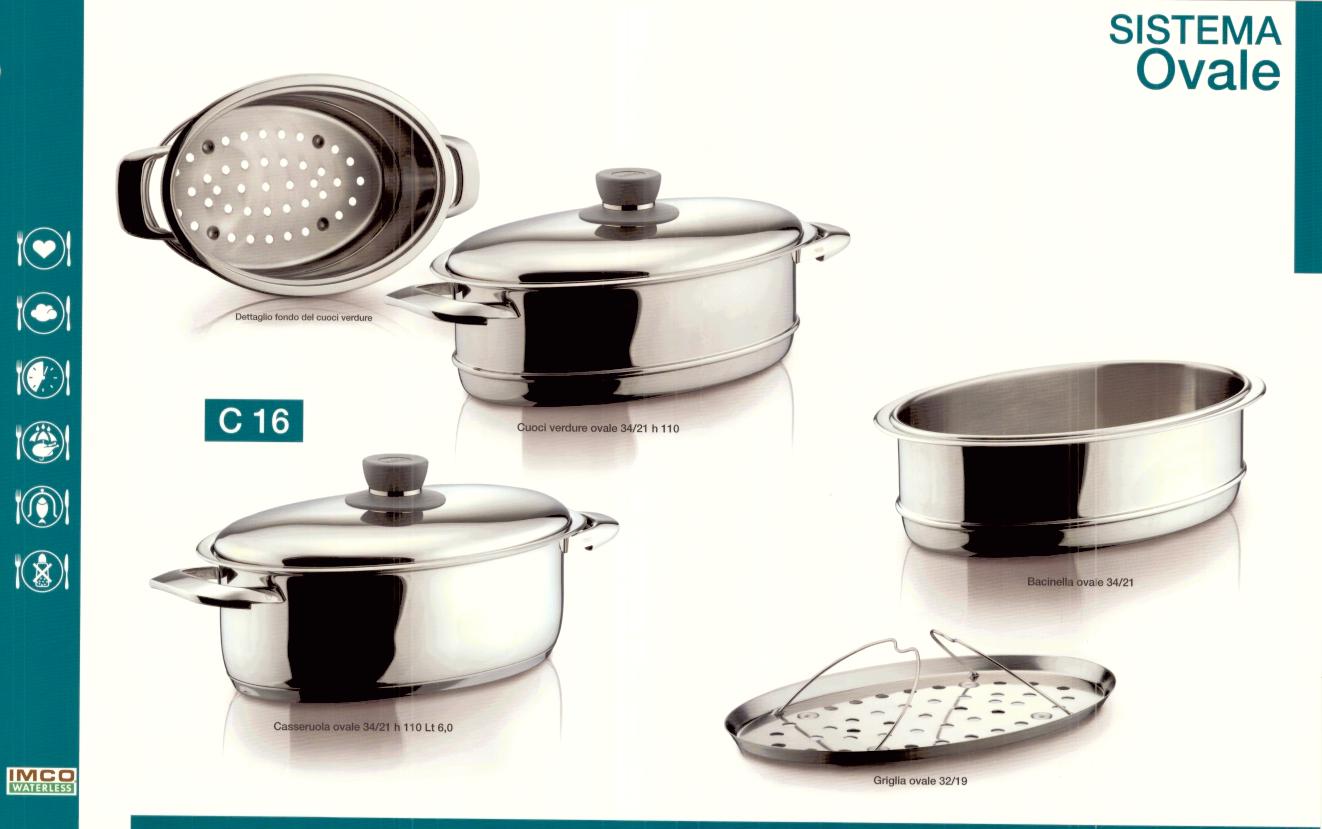 Sistemi di cottura imco waterless imco cooking system s r l - Batteria da cucina imco ...